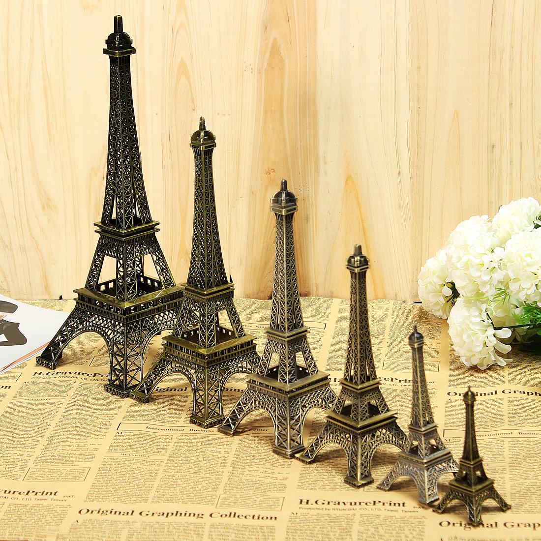 Vintage bronze tone paris eiffel tower sculpture retro for Home decorations paris