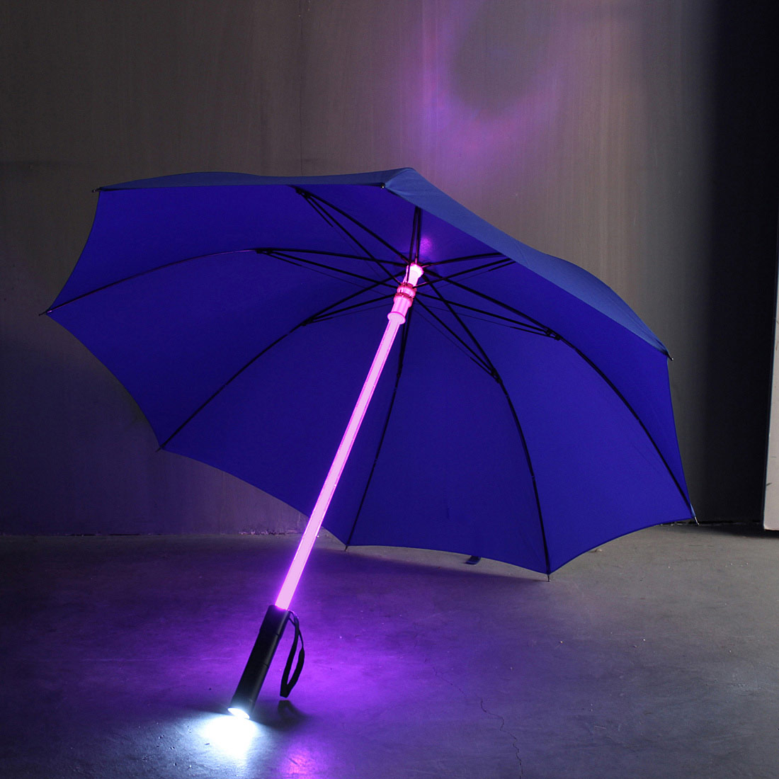 Blue Led Umbrella: LED Flash Light Cool Luminous Umbrella Handle Night