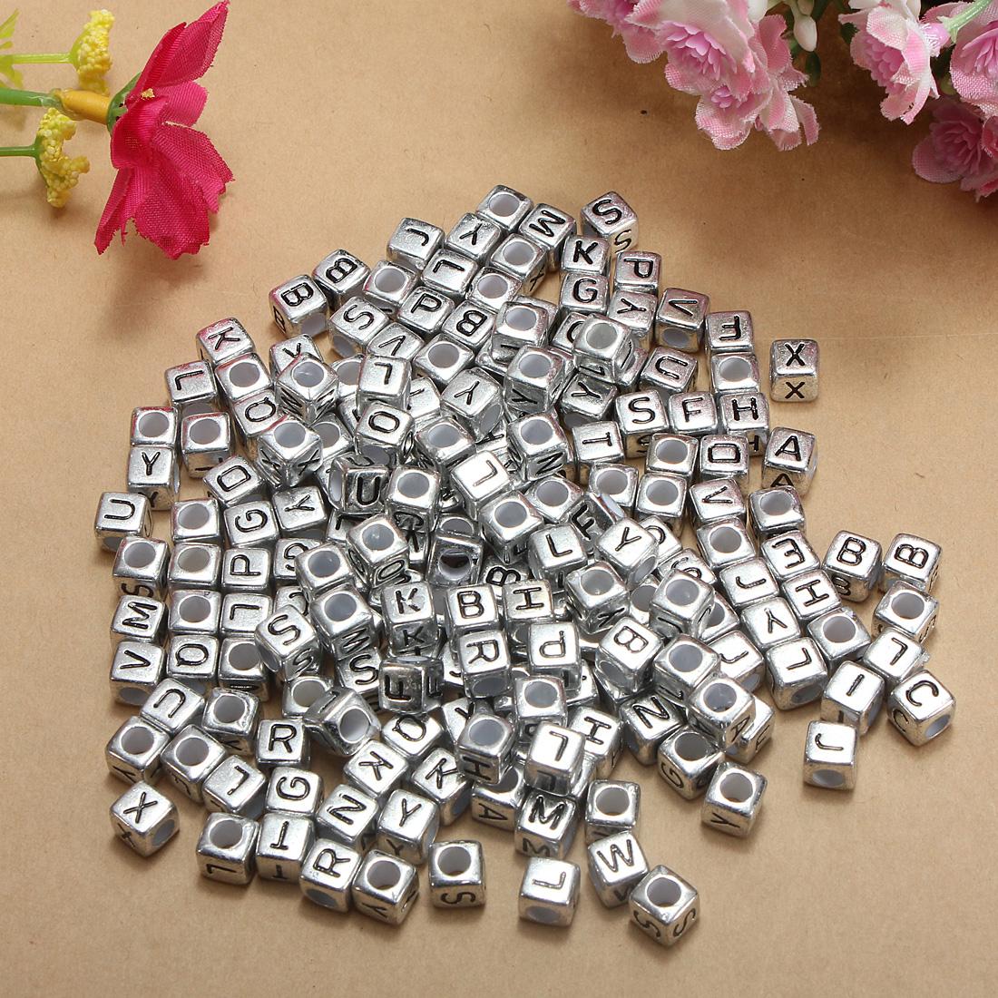 Silver Alphabet Beads: 200pcs 6mm Letters Silver Cube Plastic Acrylic Alphabet