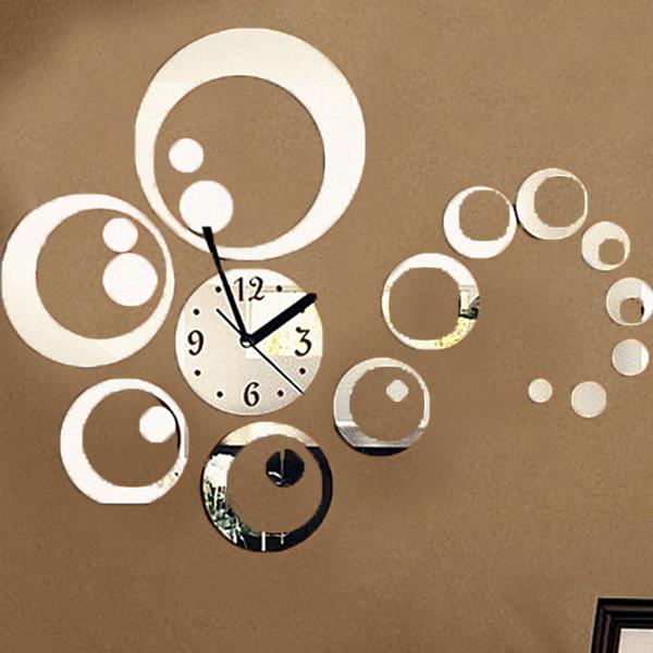 3d adesivo orologio da parete wall clock sticker mirror for Orologio stickers