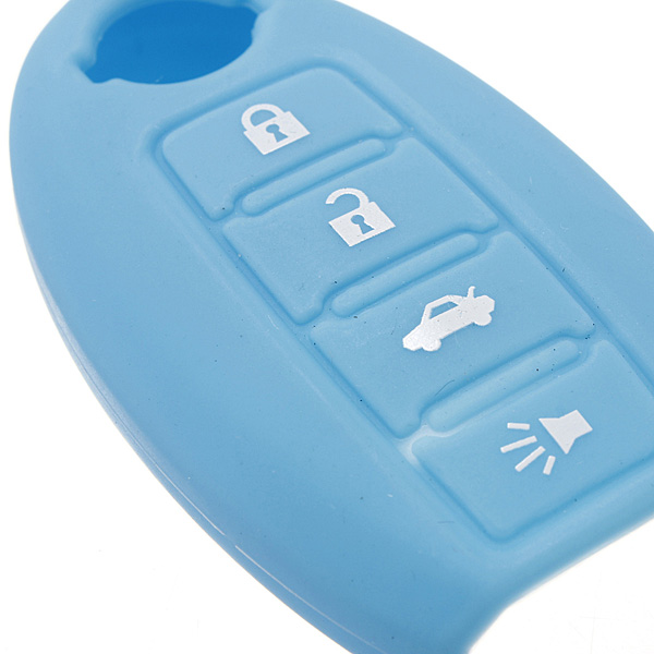 Blue 4 Buttons Remote Key Fob Case Silicone Cover For ...