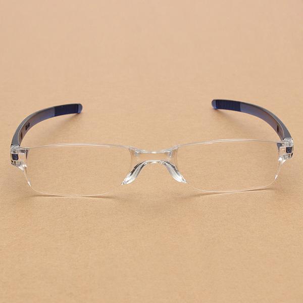 Lightweight Blue Rimless Resin Magnifying Reading Glasses ...