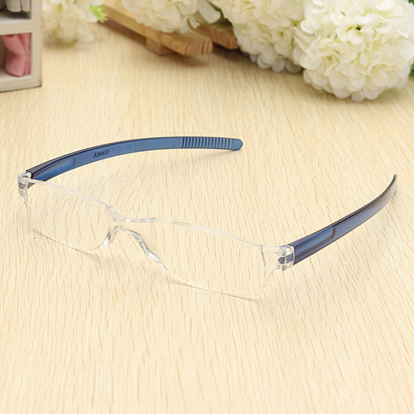 Rimless Glasses Nuts : Lightweight Blue Rimless Resin Magnifying Reading Glasses ...