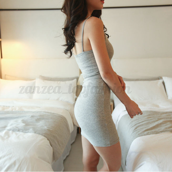Women Sexy Low Cut Bodycon Cotton Mini Dress Casual Sundress Singlet Long Top