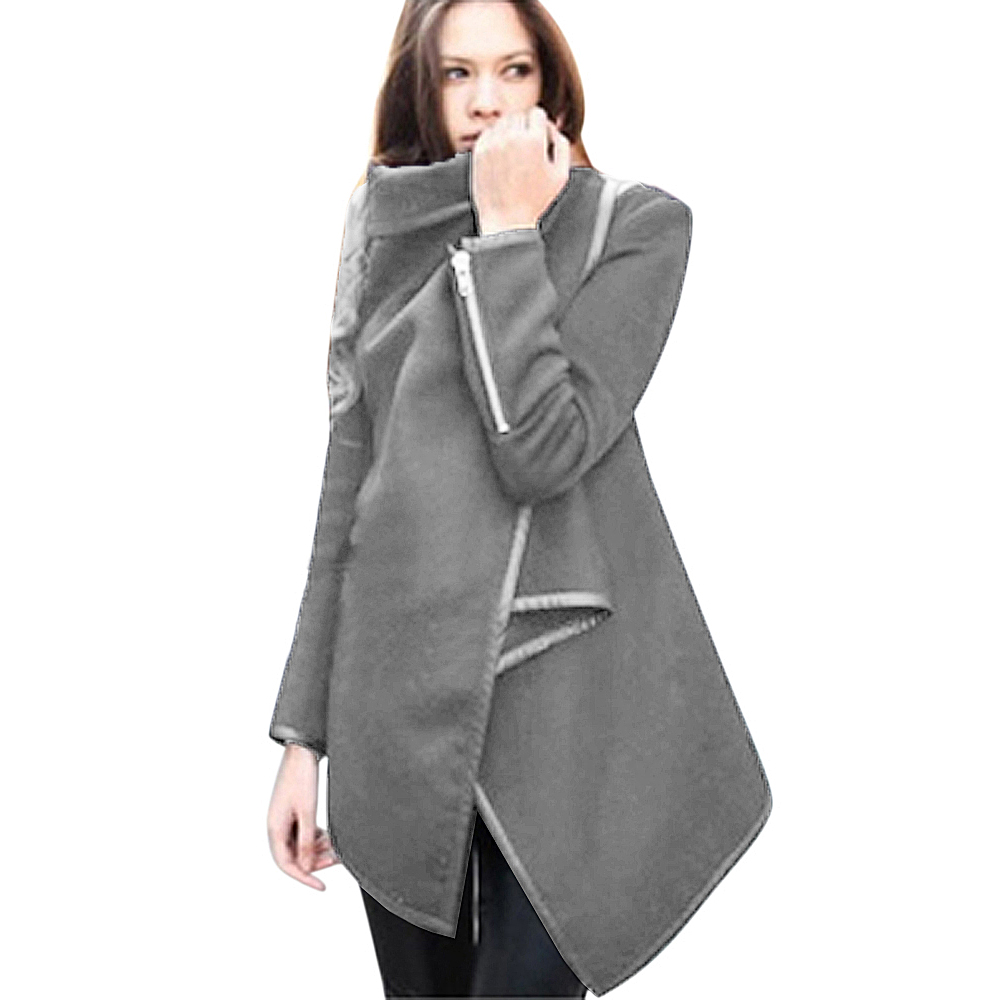 femme blazer cardigan laine poncho cape d 39 hiver manteau zipper slim veste coat ebay. Black Bedroom Furniture Sets. Home Design Ideas