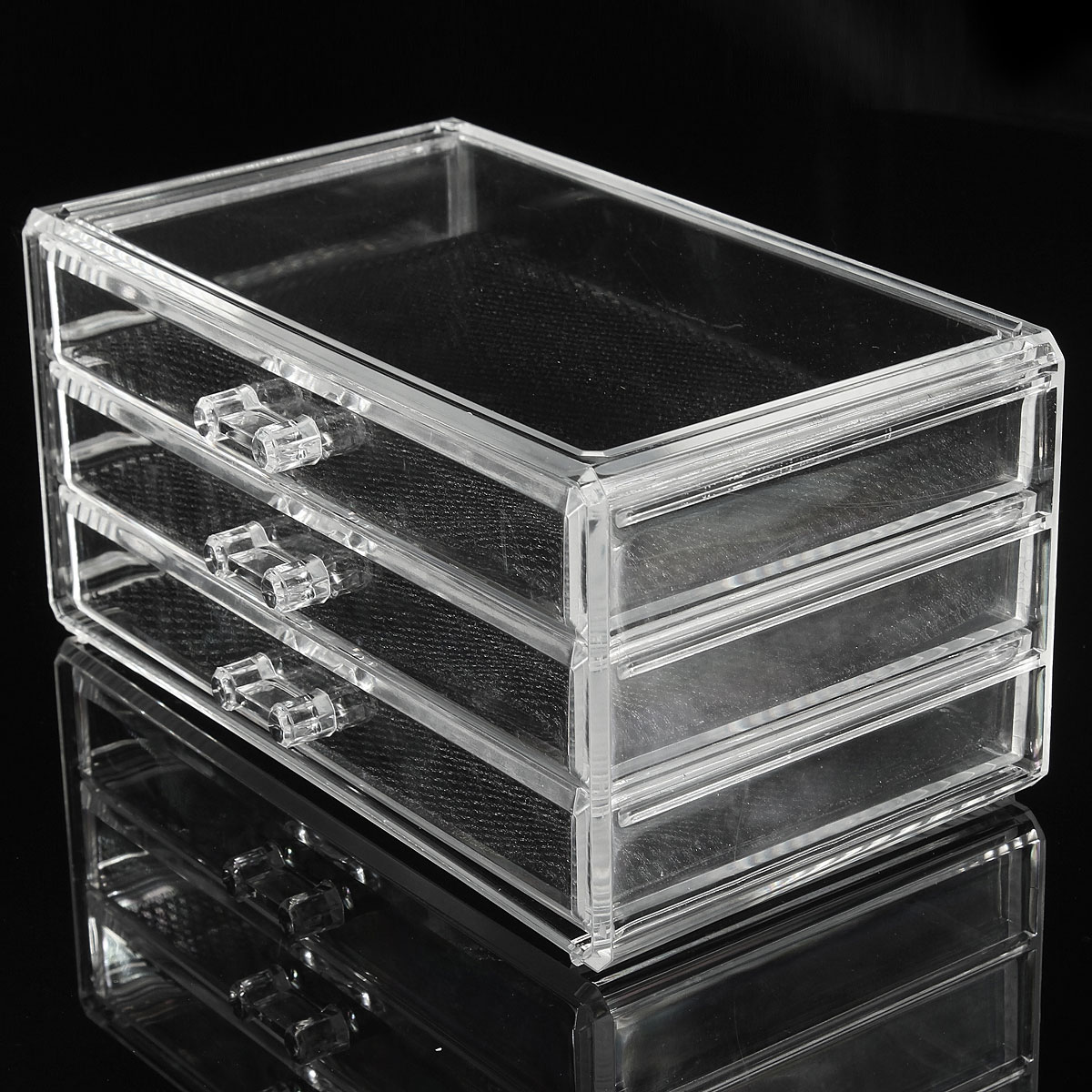 Clear Acrylic Cosmetic Jewelry Makeup Organizer Box Case 3