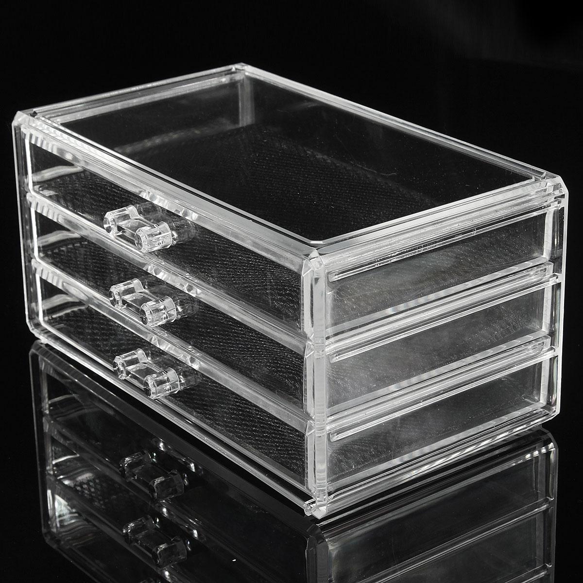 Clear acrylic cosmetic jewelry makeup organizer box case 3 Makeup drawer organizer