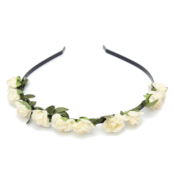 Simple Boho Rose Flower Hairband Floral Stylish Girl Headband Party Wedding