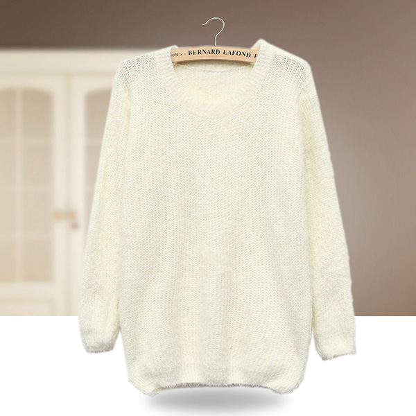 Zanzea Women Long Sleeve Crew Neck Tops Knitwear Mohair Sweater Jumpers 6 Color