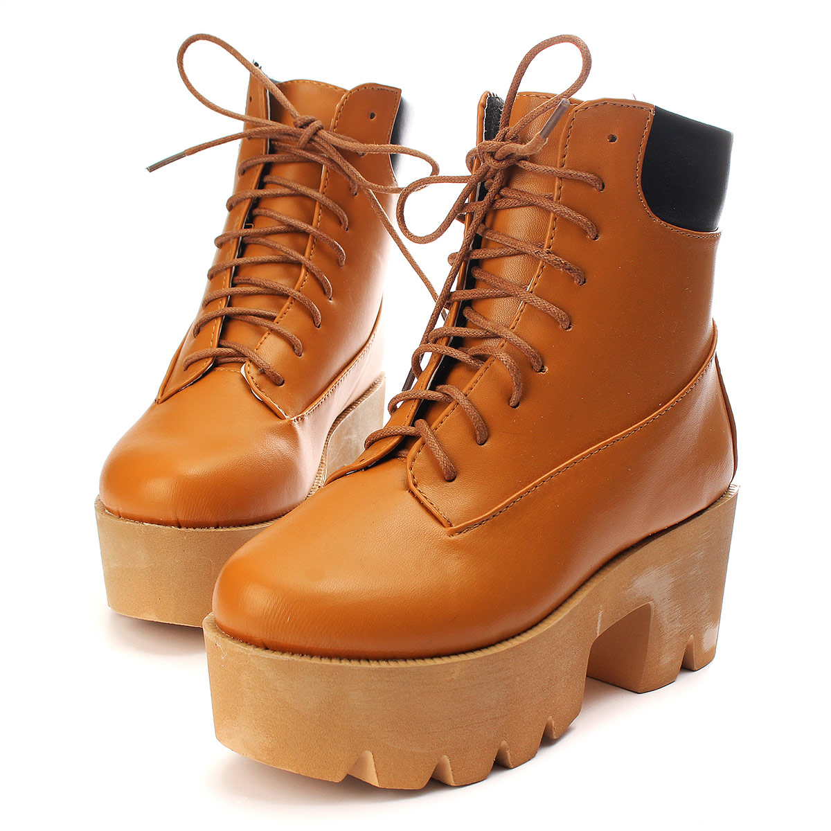 womens chunky wedge platform lace up ankle boots creepers