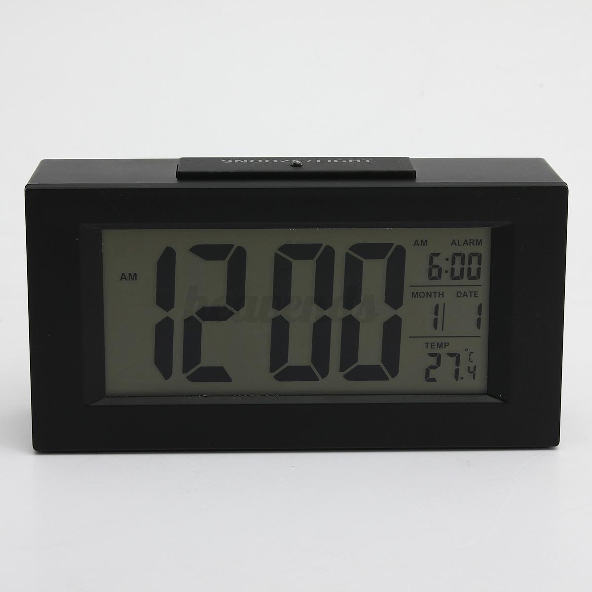 led funkuhr mit thermometer funkwecker wecker tischuhr alarm clock digitalwecker ebay. Black Bedroom Furniture Sets. Home Design Ideas