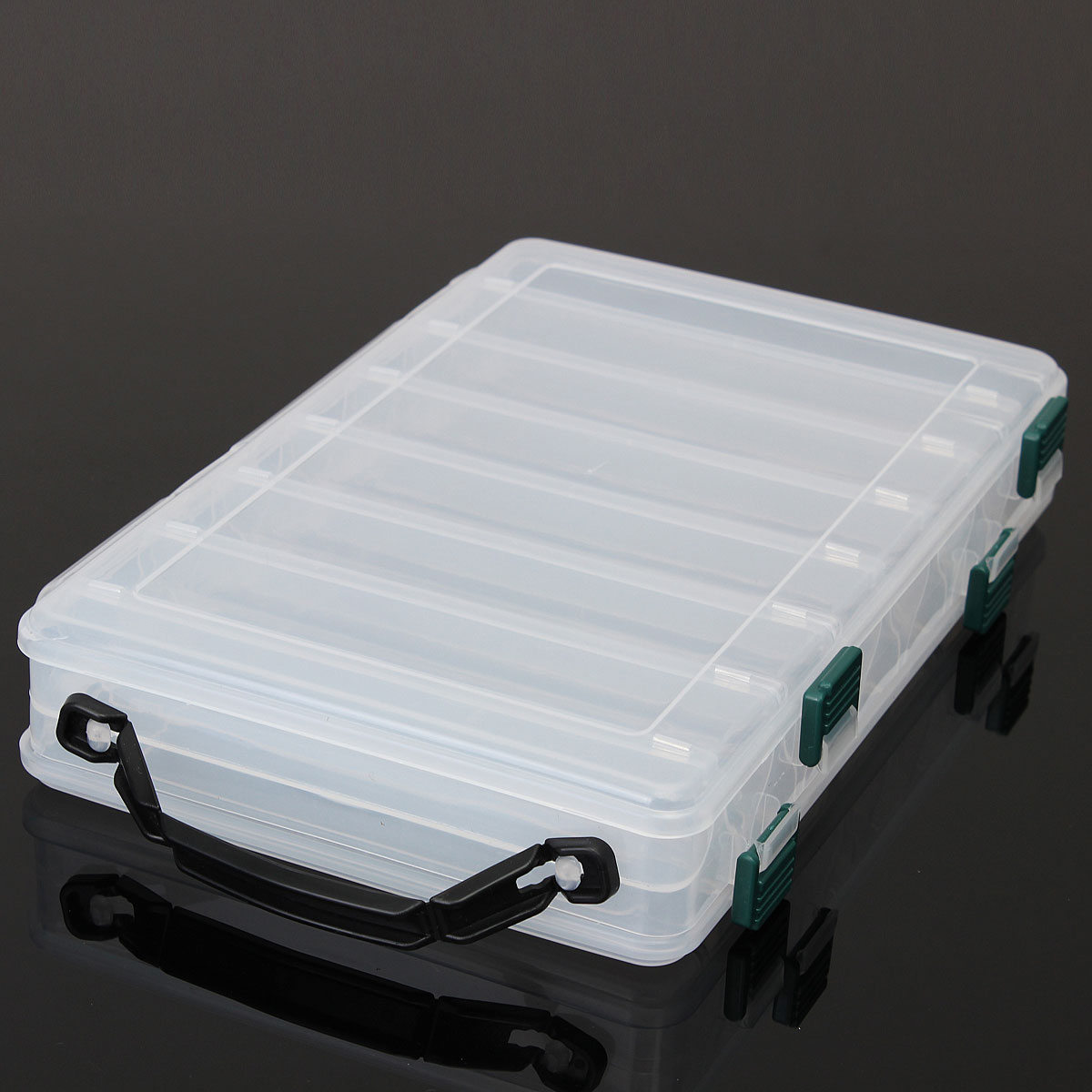 14 compartments fishing fish lure box tackle two sided for Large tackle boxes for fishing