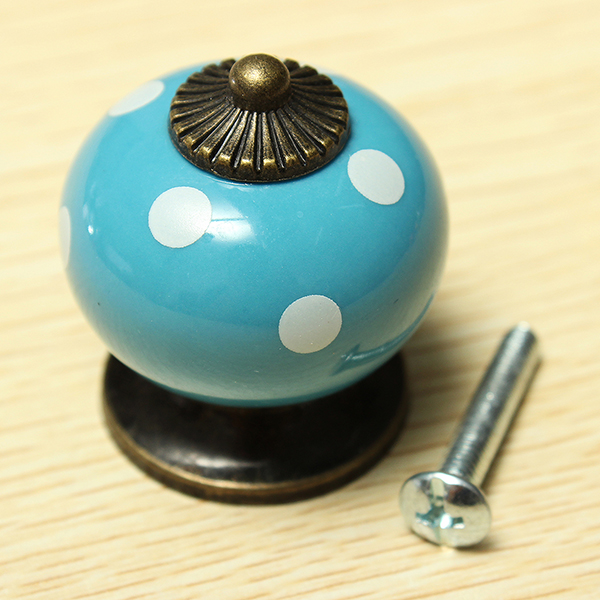 Vintage Polka Dot Round Ceramic Drawer Knob Cabinet Cupboard Door Pull Handle