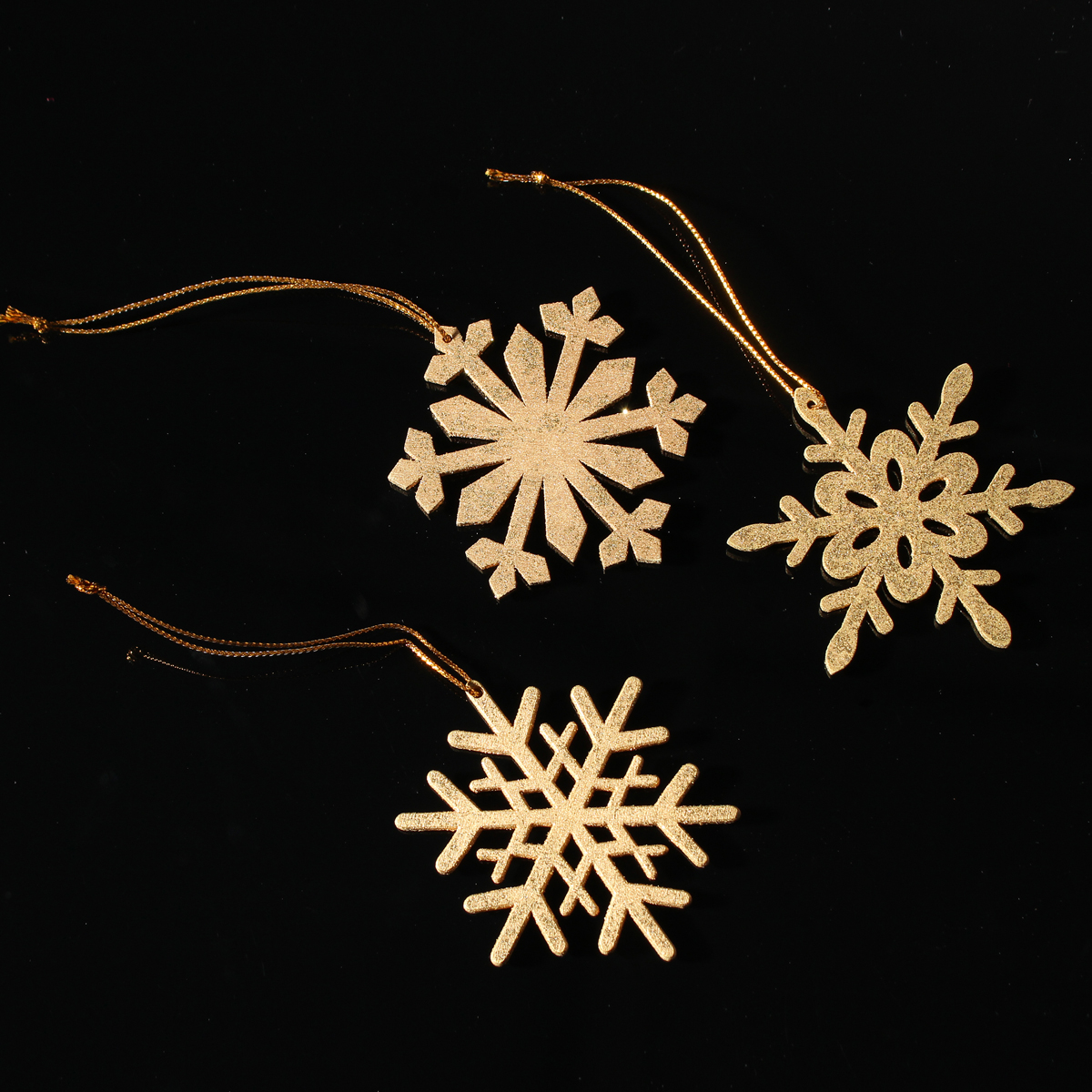 3pcs gold wooden contemporary snowflake ornament christmas for Contemporary ornaments for the home