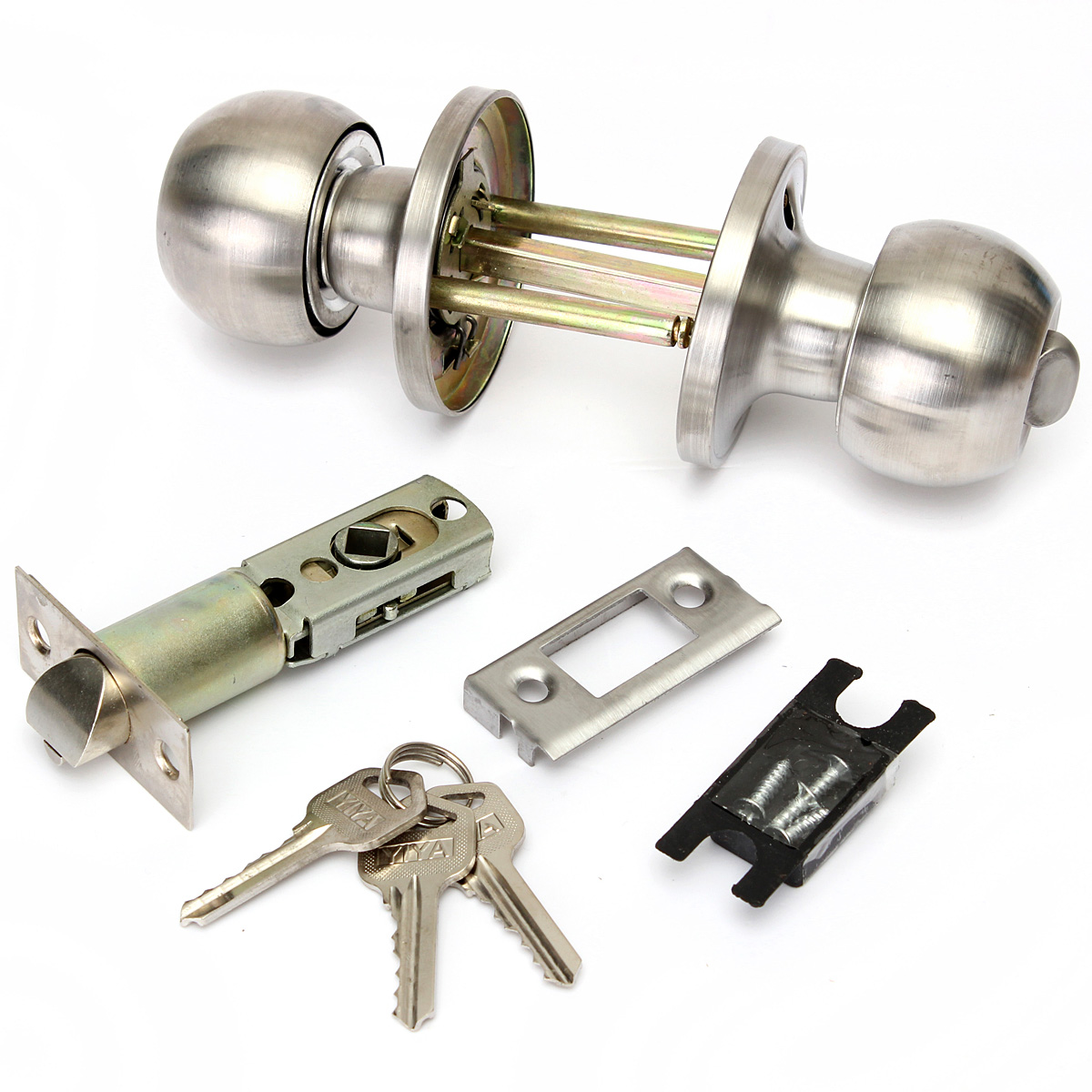 Stainless steel professional door knobs round handles lock for Key drawer handles