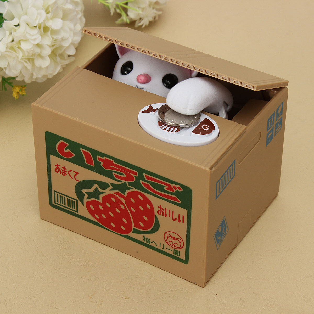 Creative novelty cat steal coin money saving box piggy bank pot case kids gift ebay - Coin stealing cat piggy bank ...