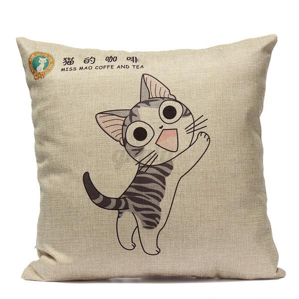 Sofa Kissenhülle Kissenbezüge Baumwolle Leinen Hunde katze Kopfkissenbezug