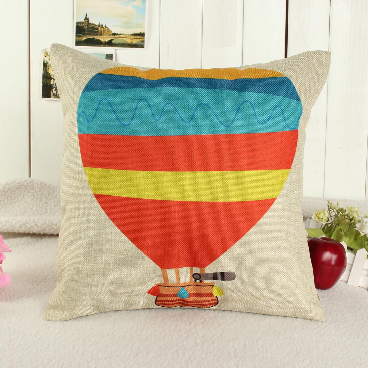 Vintage Colorful Strip Balloon Waist Throw Pillow Case Car Back Cushion Cover