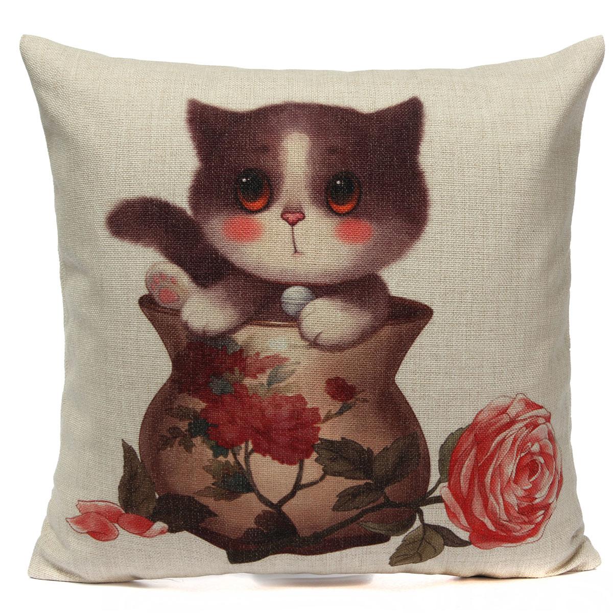 Vintage Animal Linen Cotton Cushion Cover Throw Pillow Case Home Sofa Car Decor eBay