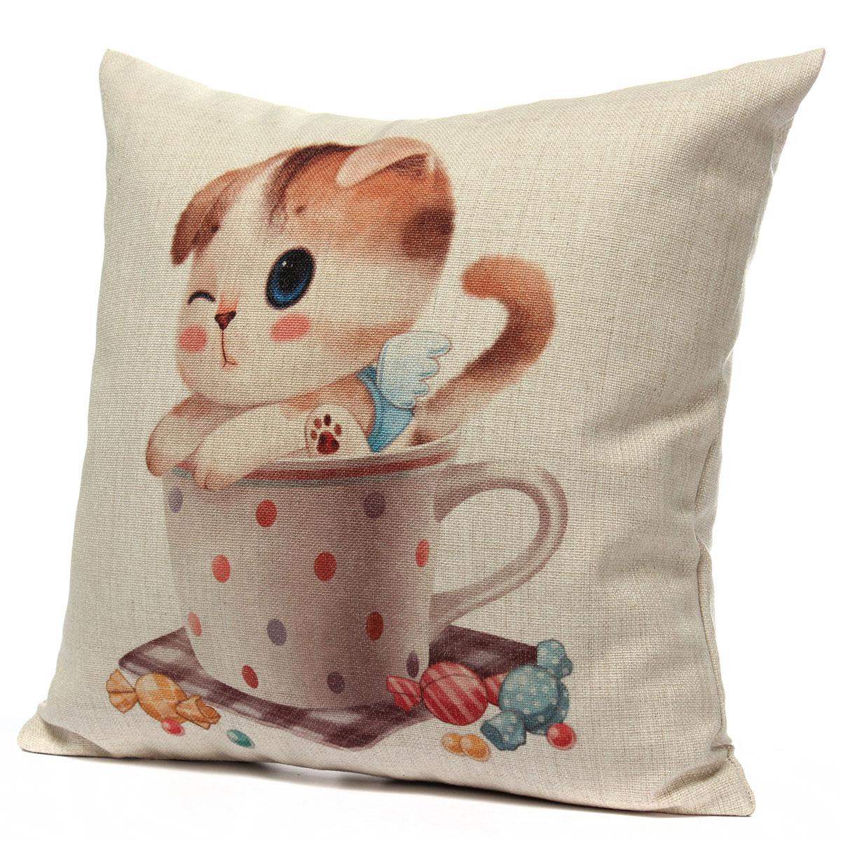 chat taie doreiller housse de coussin canape sofa chambre voiture mignon coton. Black Bedroom Furniture Sets. Home Design Ideas