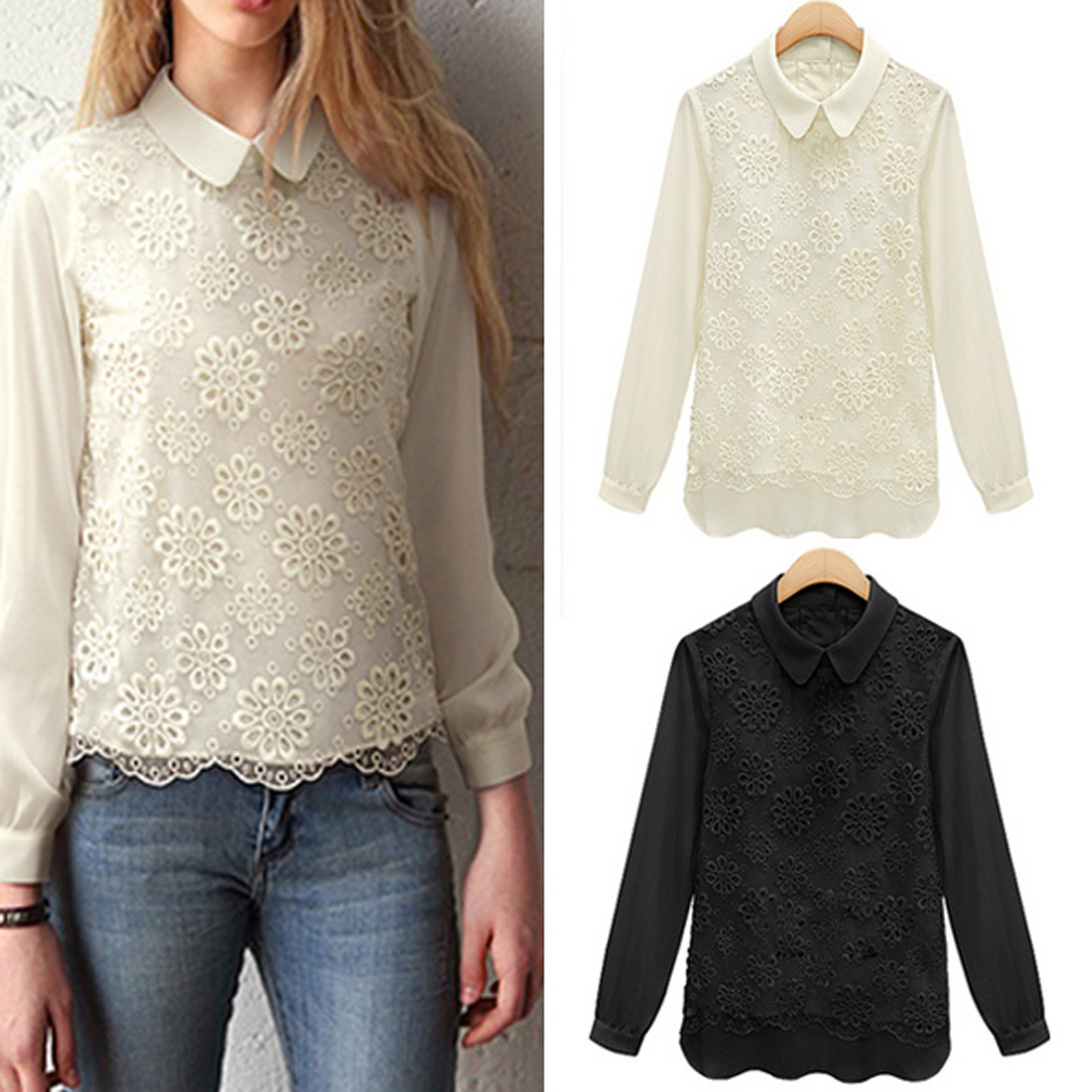White Lace Blouse With Collar 38