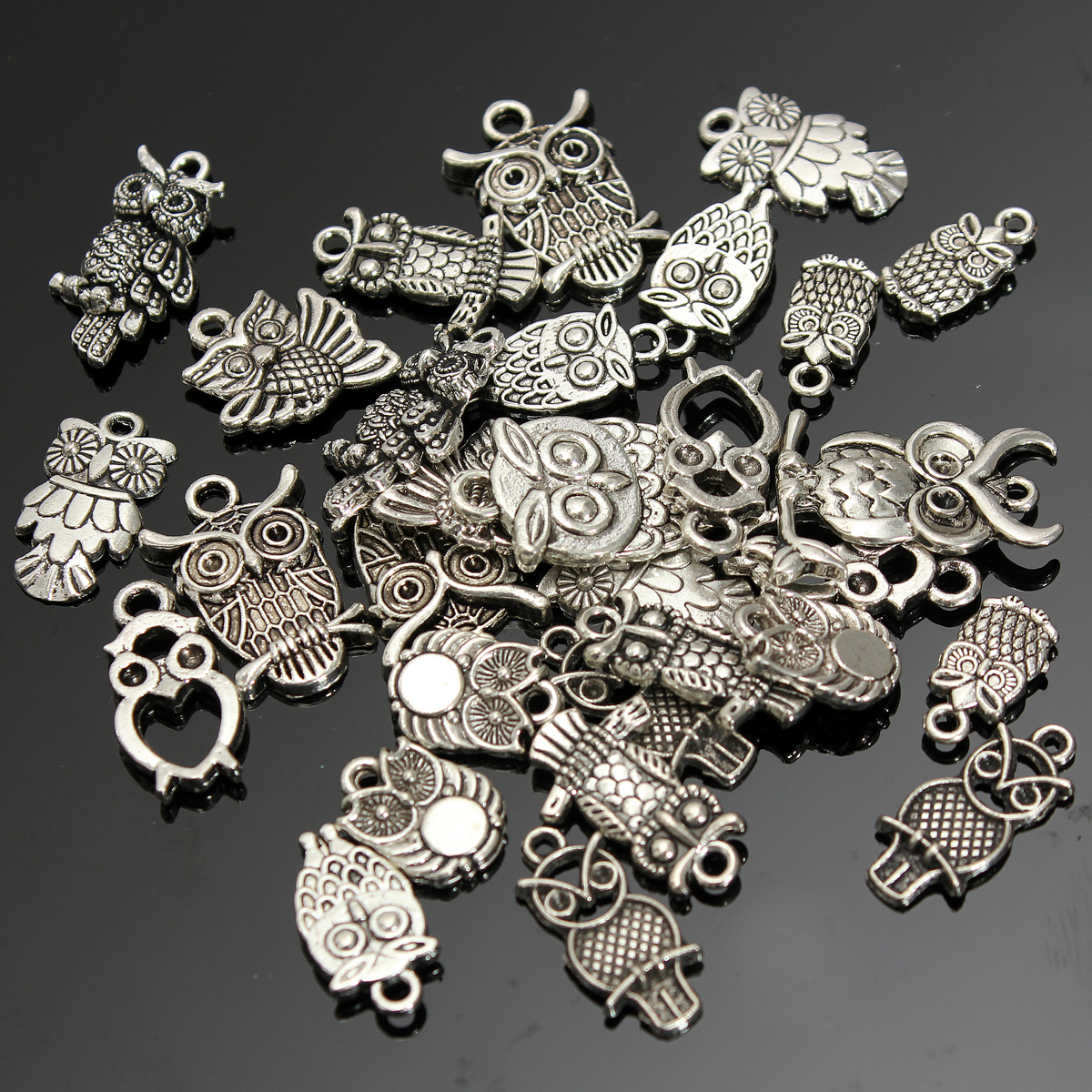 30pcs tibetan silver charm owl pendant beads wholesale. Black Bedroom Furniture Sets. Home Design Ideas
