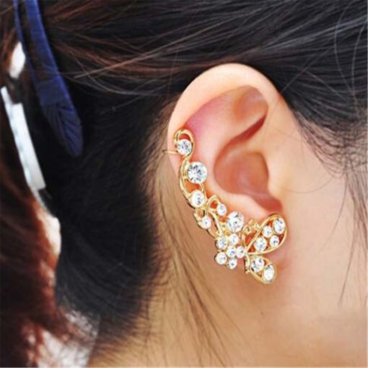 Retro Crystal Butterfly Flower Ear Cuff Stud Clip On Clip Clamp New Wrap Earring