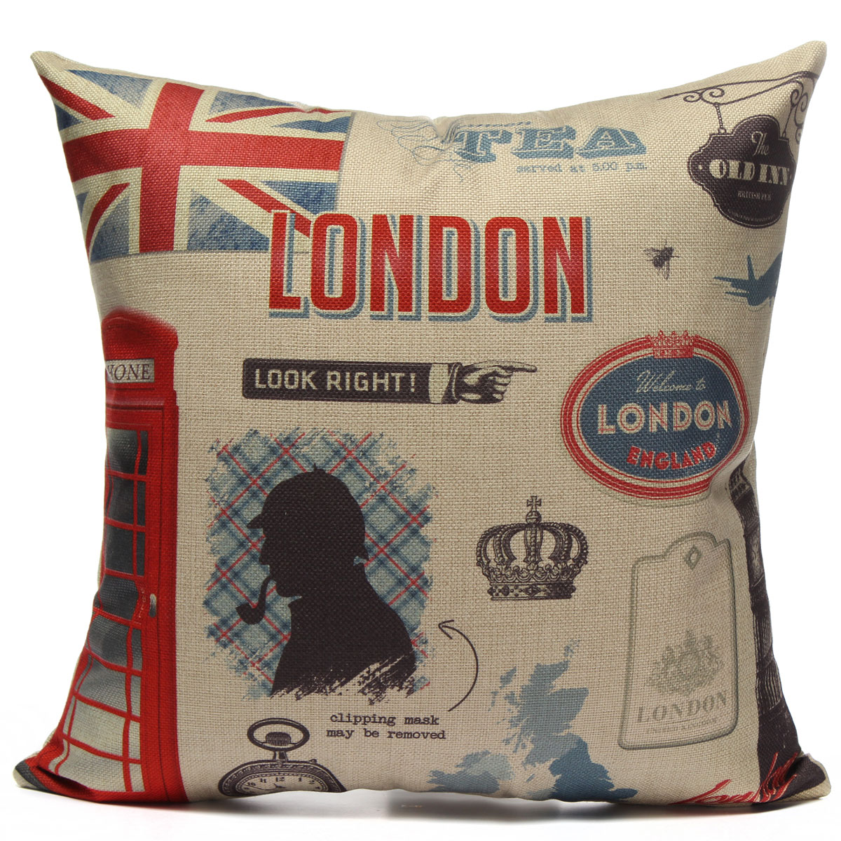 Retro British London Style Pillow Case Cushion Cover Cotton Linen 43x43cm NEW