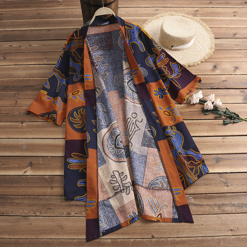 Summer Mens Kimono Bohemia Cardigan Cape Floral Holiday Beach Jacket Blouse Top