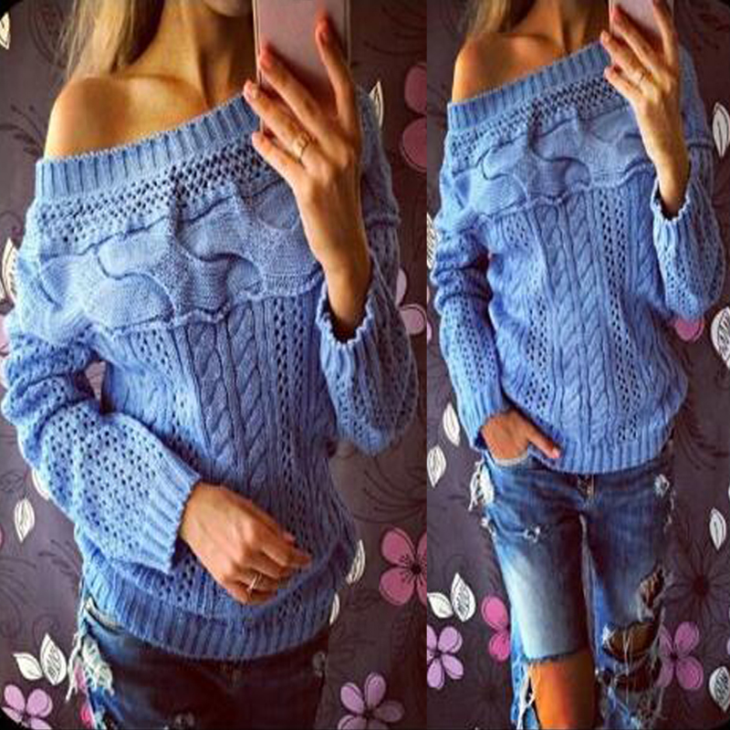 WINTER WOMEN ONE SHOULDER KNIT LONG SLEEVE JUMPER SWEATER TOPS QUALITY PULLOVER
