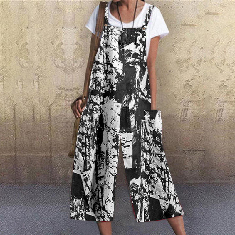 Womens Summer Sleeveless Holiday Jumpsuits Casual Loose Fit Wide Leg Playsuits