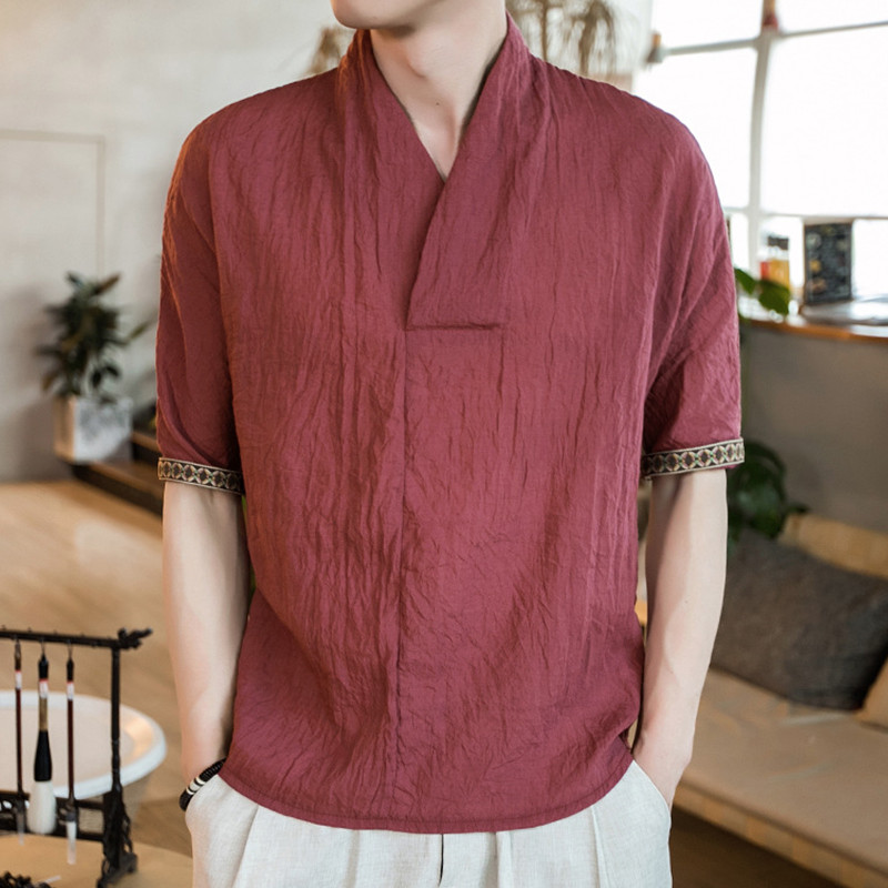 Mens Casual Short Sleeve Embroidery Linen Cotton V-Neck Vintage Tee Top T-shirts
