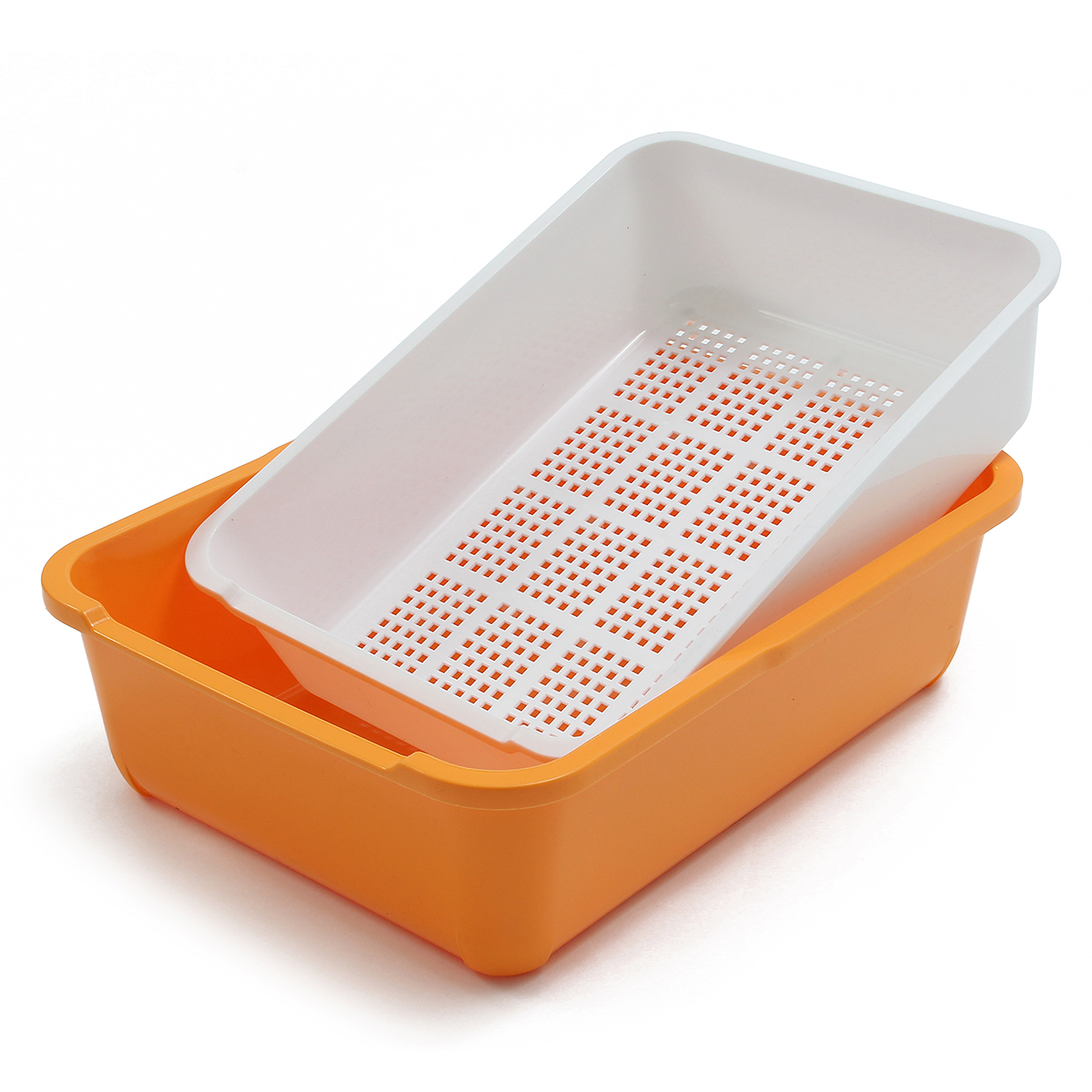 Cat Kitten Double Layer Sifting Litter Tray Toilet Box with Scoop Set 44x32x15cm