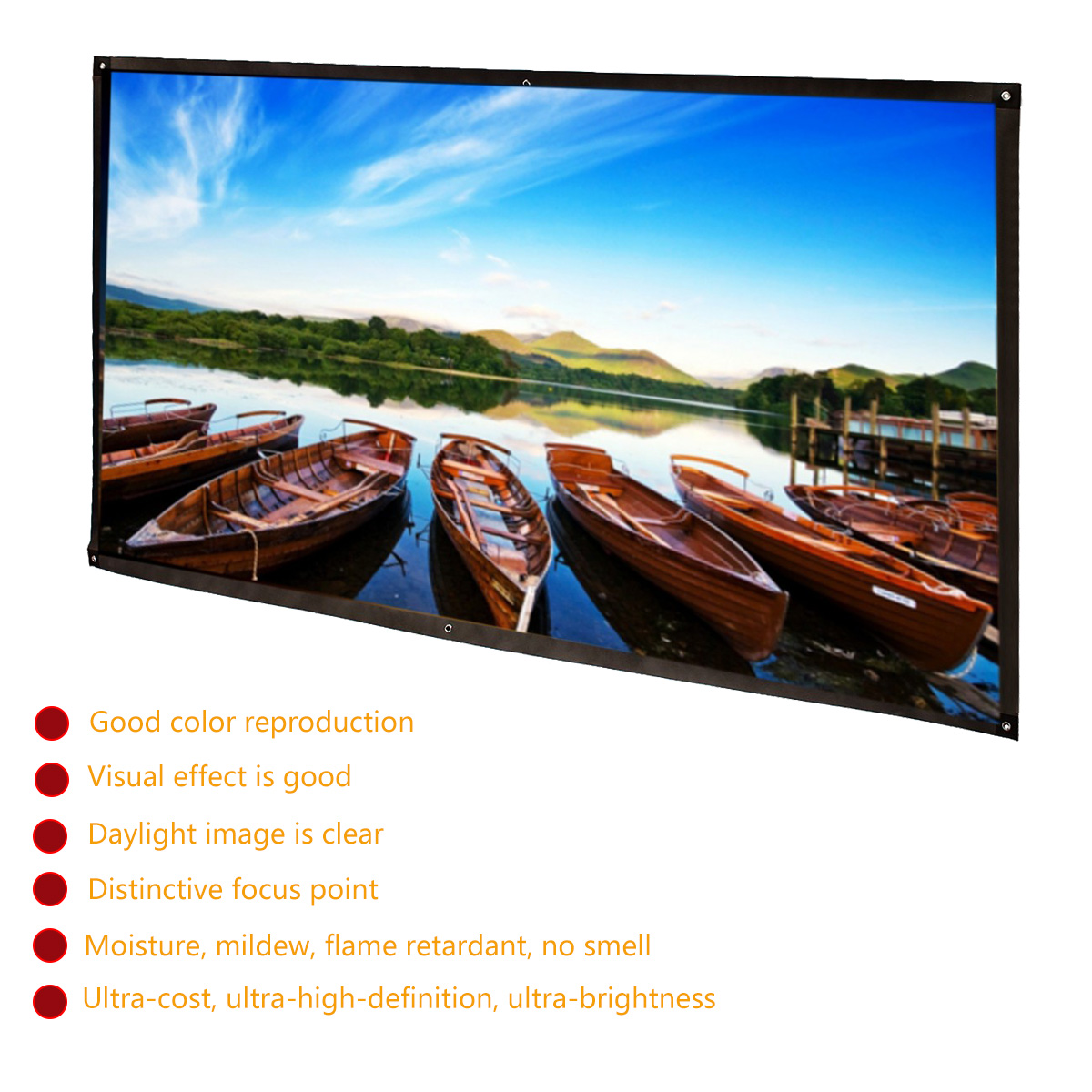 """120/"""" 16:9 Portable Projector Screen Projection HD Home Theater Movie"""