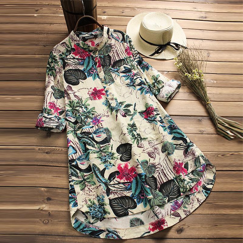 UK Women Retro Floral Long Sleeve Casual Loose Tops Shirt Mini Dress Plus Size