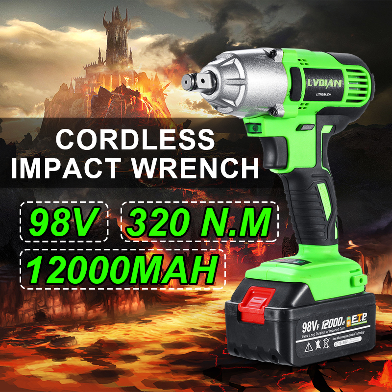 12000mAh 98VF Electric Impact Wrench Cordless Drill Screwdriver Car Torque LED