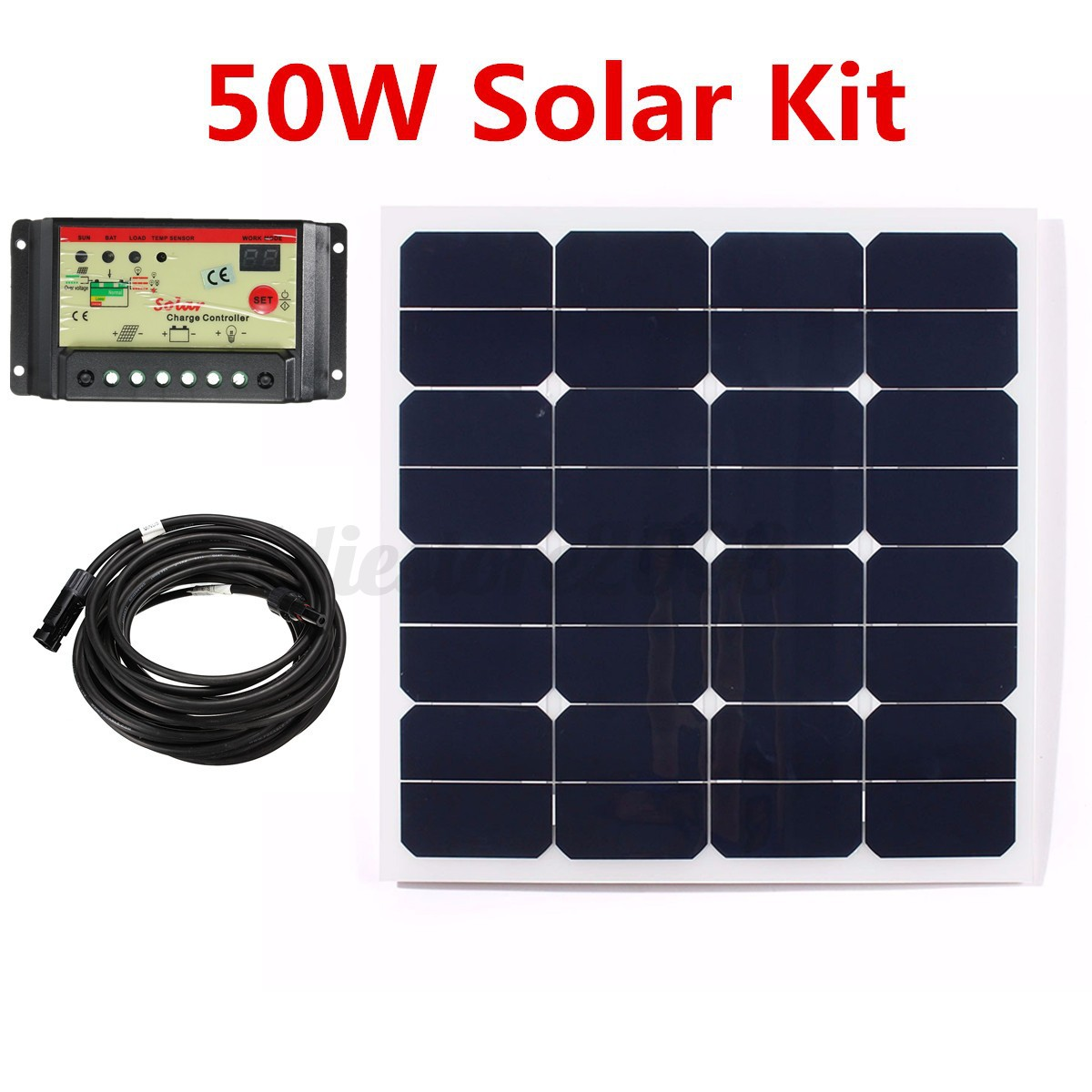12v 50w watt solar panel panneau solaire kit controller. Black Bedroom Furniture Sets. Home Design Ideas