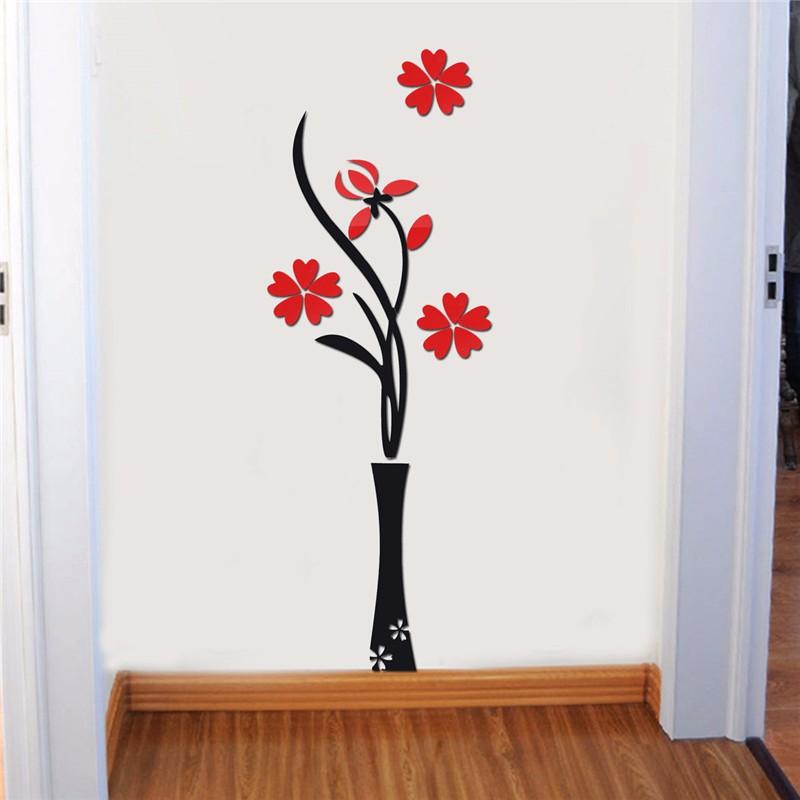 3d florero flor espejo diy pegatina de pared stickers art for Decoracion hogar 3d