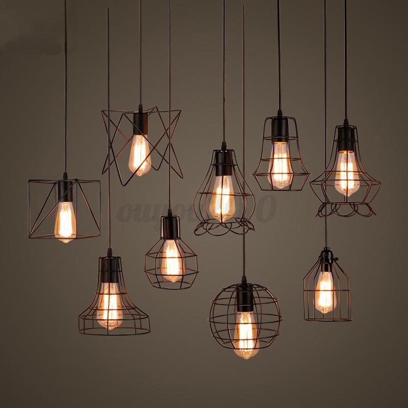 Ceiling Light Bulb Guard : Vintage pendant trouble light bulb guard wire cage ceiling