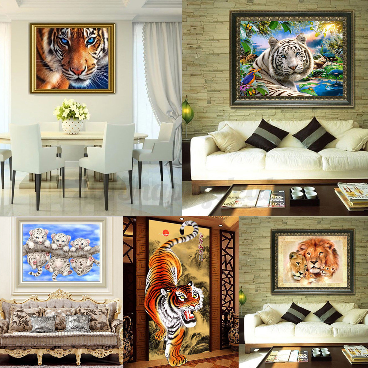 5D DIY Diamond Painting Tiger Lions Animals Embroidery