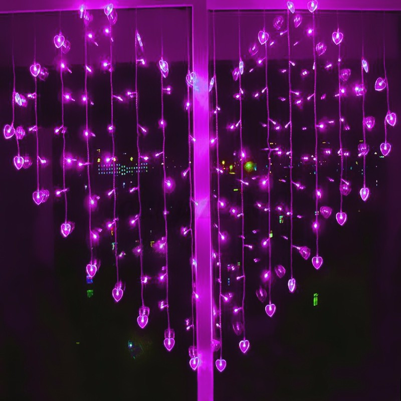 String Lights Valentines : LED Heart Curtain Falling Fairy String Lights Valentine Xmas Wedding Party Home eBay
