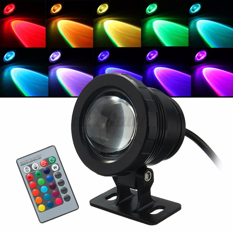 10W RGB LED Light Fountain Pool Pond Spotlight Underwater Waterproof + Remote US