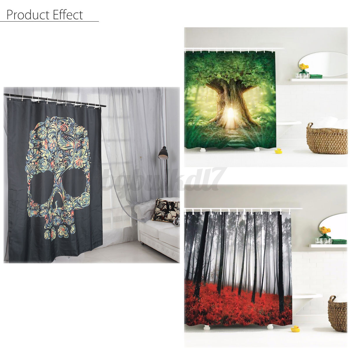 ... Waterproof Polyester Fabric Bathroom Shower Curtain Decor With Hooks