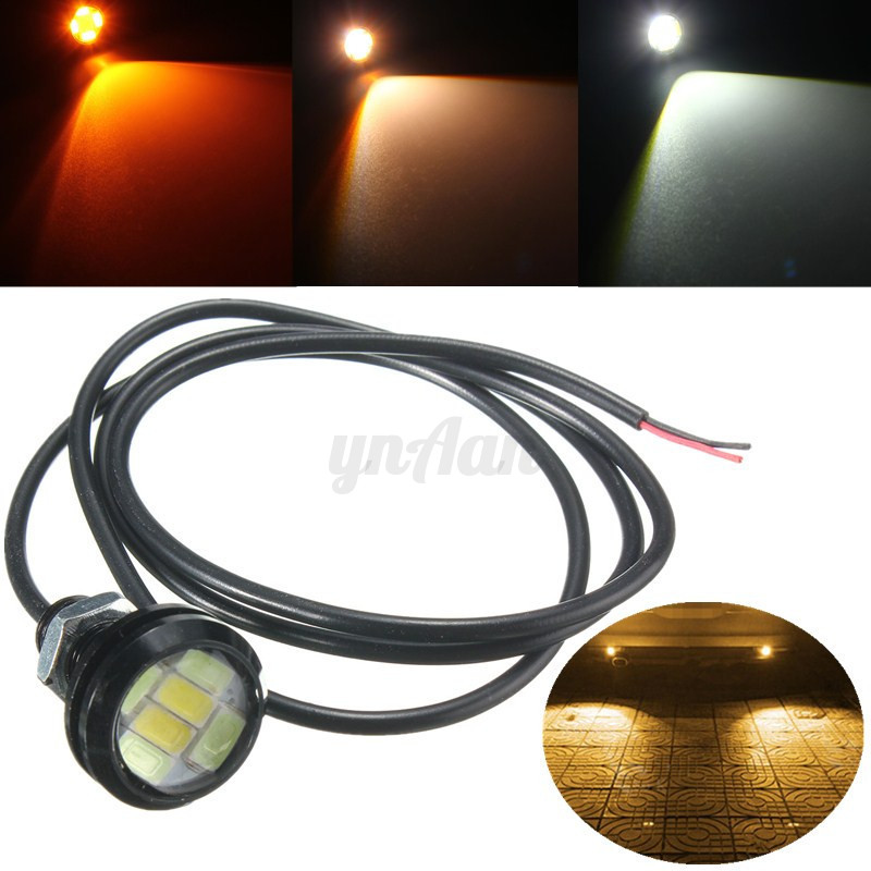 5W 23MM Dual Color 5730 6-SMD Eagle Eye Led Light DRL Fog White Blue Amber