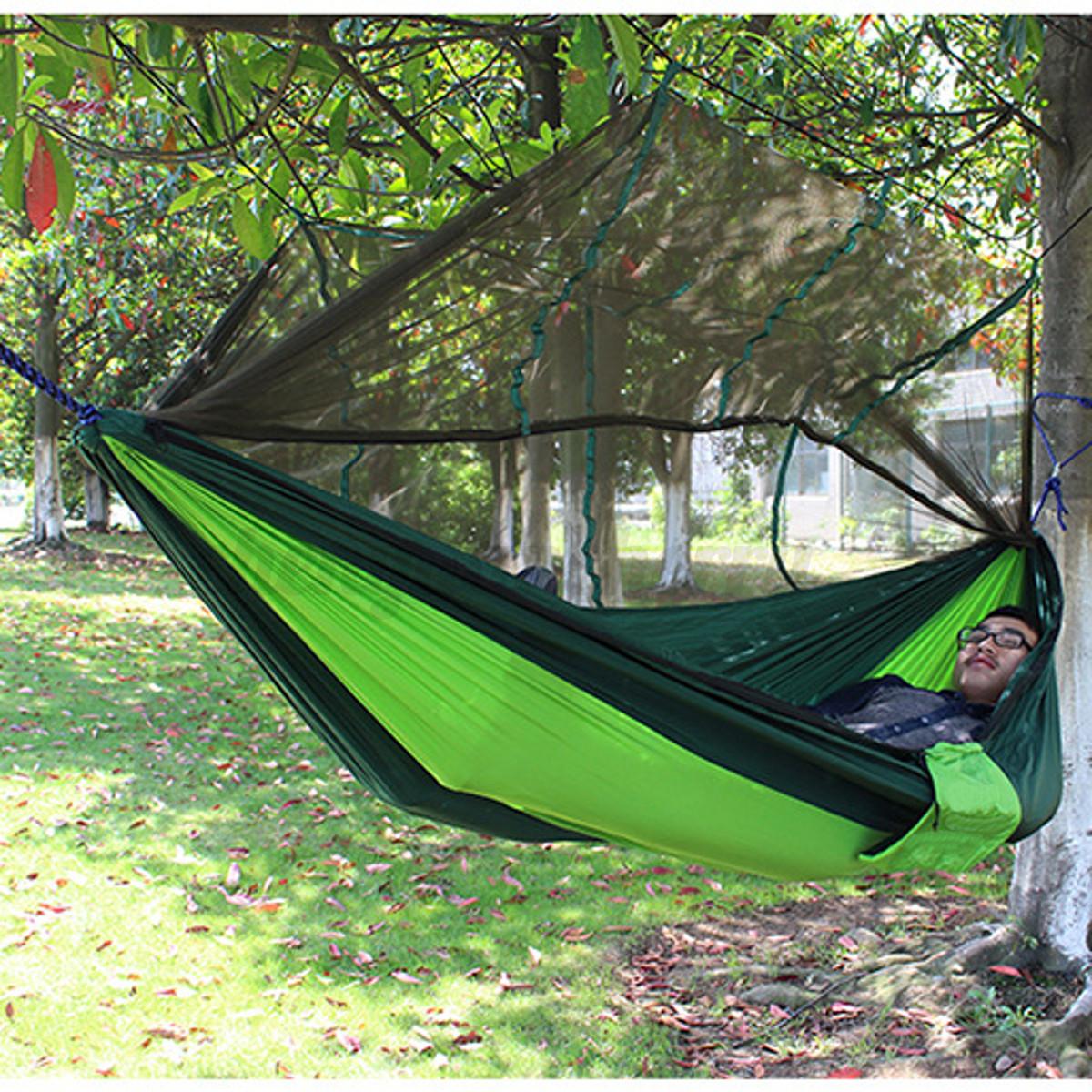 Outdoor Double Hammock Camping Mesh Bed Swing Mosquito Net