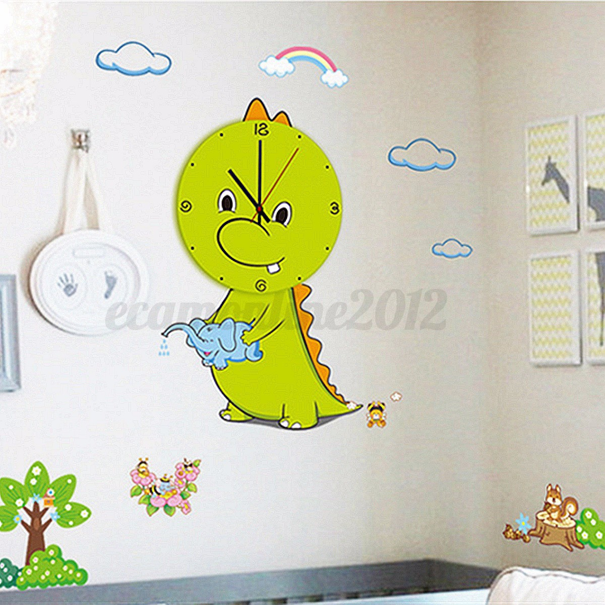 3d diy dibujos animal reloj de pared con pegatinas de for Pegatinas pared ninos