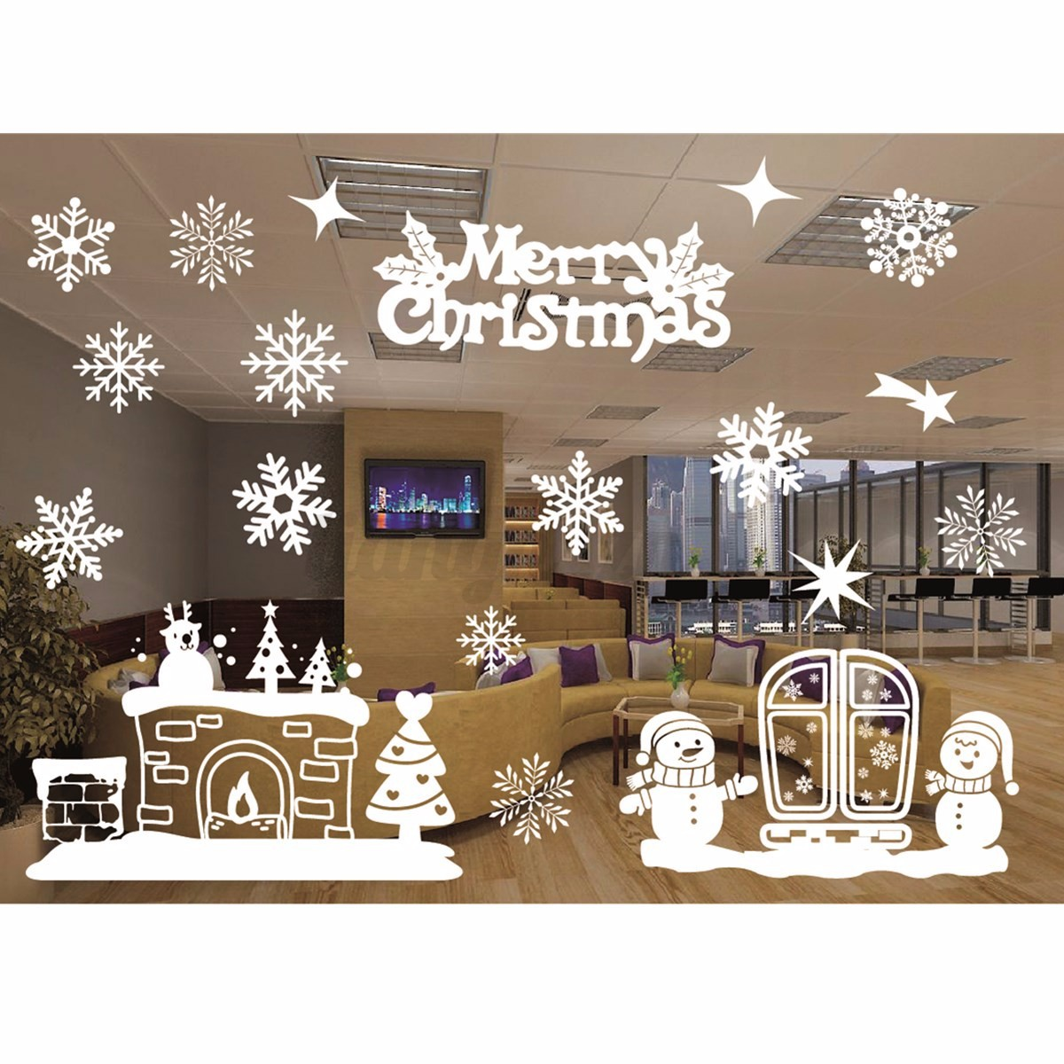 Sticker autocollant blanc no l vitrine fen tre magasin for Decoration fenetre noel blanc