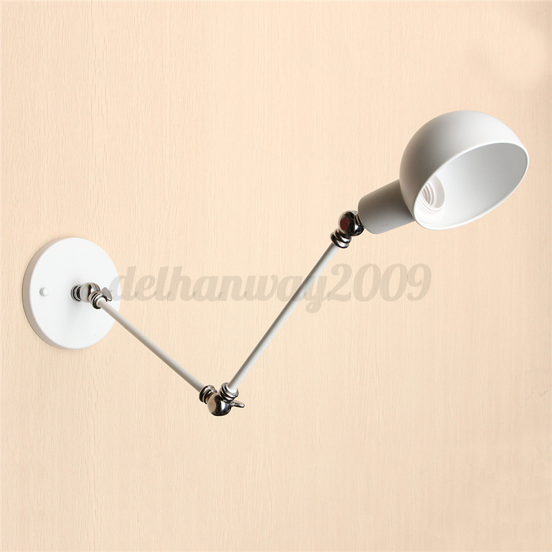 Vintage Industrial Style Wrought Iron Lamp Long Arm Pole Swing Wall Light Sconce eBay