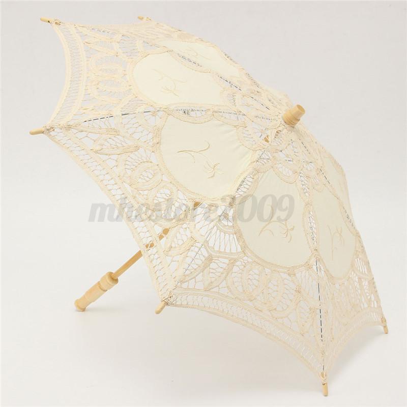 23 Lace Cotton Parasol Bridal Wedding Decoration Girl Umbrella Ivory White