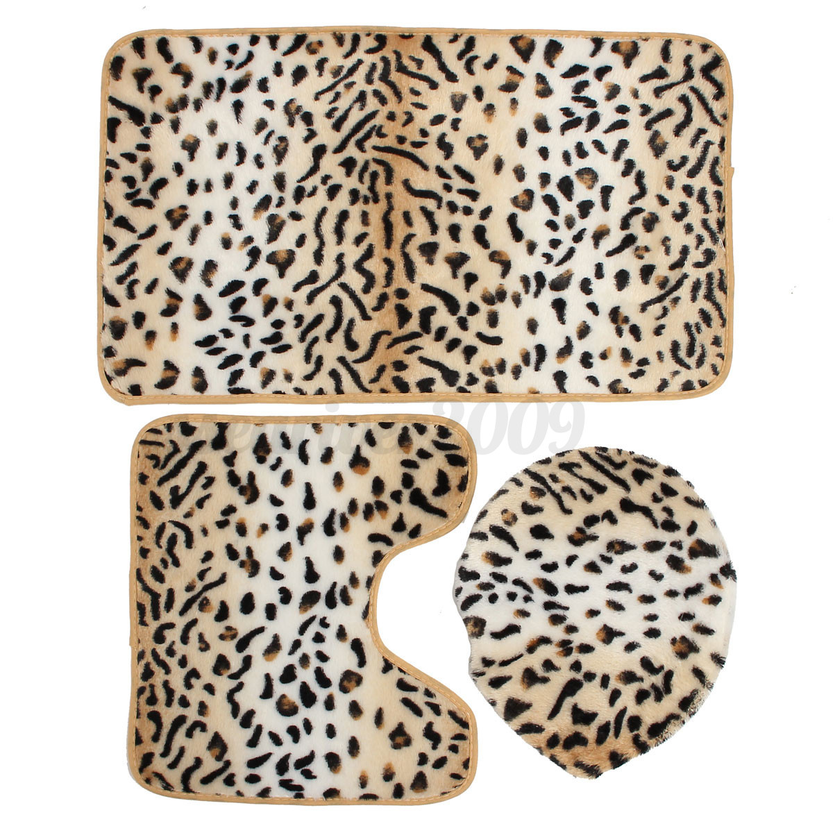 Zebra Leopard Print Set 3 Toilet Seat Cover Bathroom Mat